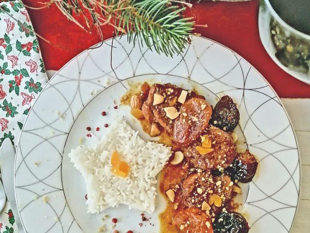 Ψαρονέφρι με αποξηραμένα φρούτα και αμύγδαλα